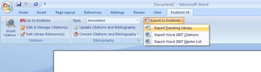 11. The Traveling Library Each formatted citation in your Word document is saved with field codes that embed data in the document about the corresponding EndNote reference.