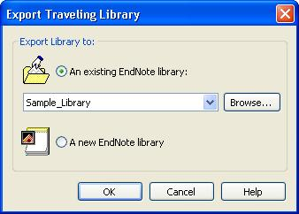 The Export Traveling Library dialogue box appears.