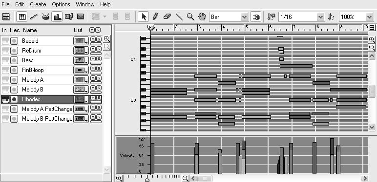 In the Sequencer, select the seventh track down ( Rhodes ) in the left column of the Tutorial Song. 2. Click the Edit mode display button in the upper-left corner (Figure 3.