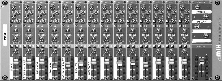 Chapter 3 Meet the Mixer Now look at the Rack (top window) to see the Mixer (Figure 3.4). From the Mixer you can control the volume levels of all the instruments that are playing in the song.