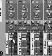 Reason Overview Mute Solo Fader Figure 3.5 Moving channel faders To use the Mixer: 1.