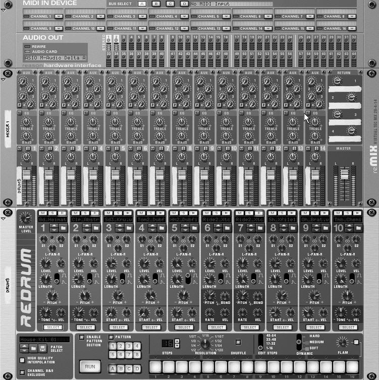 Chapter 3 The Reason Work Process For a typical project in Reason, you ll create a Mixer, add a device such as a drum machine or a synth, record the parts, listen to them, edit them, add more devices
