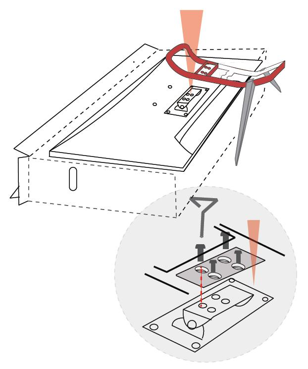3. Using the four remaining Stand Base Screws, attach the stand assembly to the monitor, as shown in the image below.