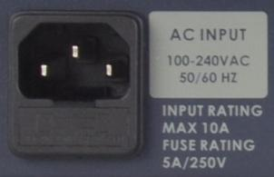 mains power outlet 100~240VAC. The socket contains a fuse holder fitted with a 5A fuse.