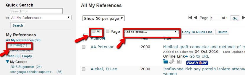 Figure 4.9 11. Imported references will be confirmed in red text. Figure 4.10 12. Return to My References tab in EndNote to see the references added from Google Scholar.