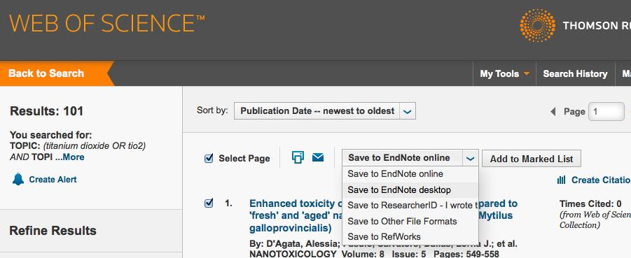 3 Exporting Search Results from Web of Science 1. Search Web of Science and select your results. 2. Select Save to EndNote desktop from the drop down menu, located above your list of search results.