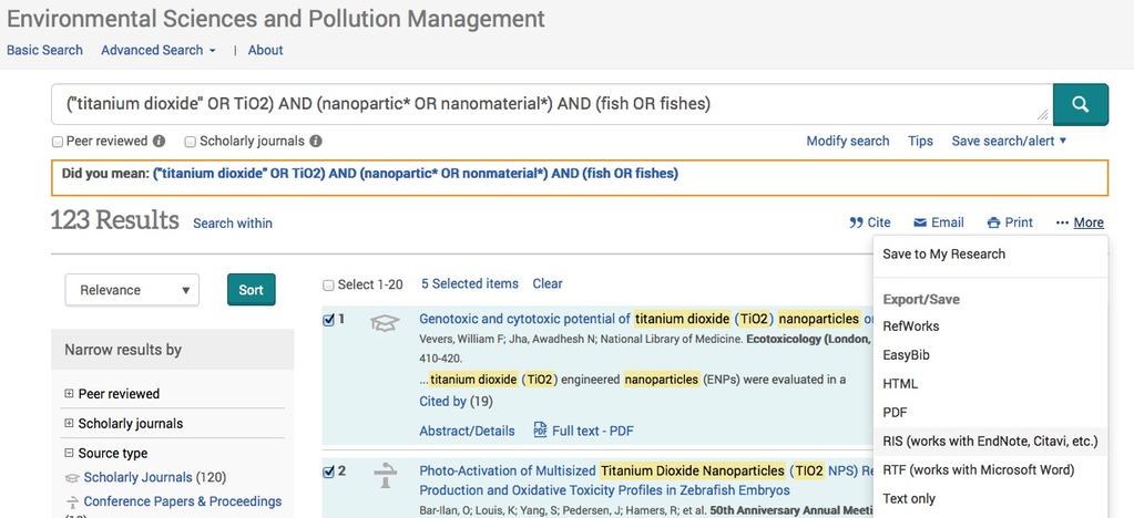 4 Exporting Search Results from ProQuest Databases (e.g., Dissertations & Theses, Environmental Sciences & Pollution Management, GeoRef) 1.