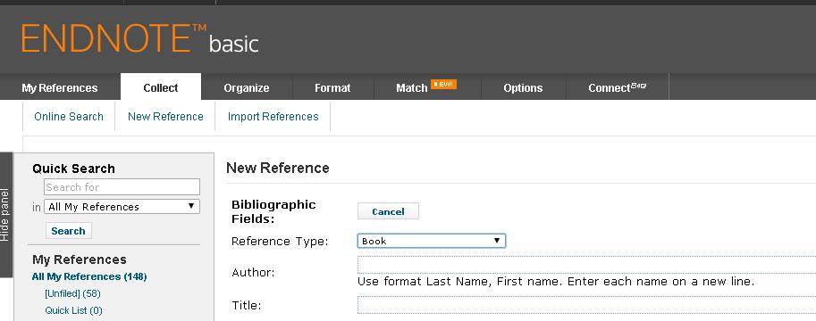 2 Entering references manually 2a Entering a book reference Click the Collect tab then click New Reference Use the drop down menu to change the Reference Type to book.