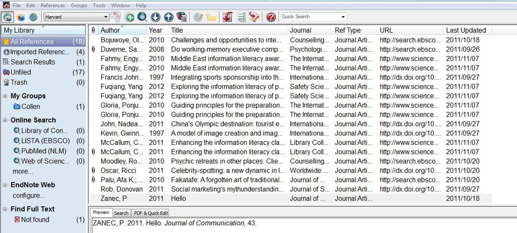 EndNote XV (fifteen): the basics (downloadable desktop version) EndNote is a package for creating and storing a library of references (citations plus abstracts, notes etc) which can then be used in