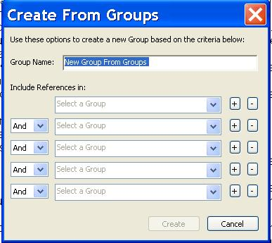 Create Groups from Other Groups Custom and smart groups can be combined under a single group by using AND, OR, and NOT logic.