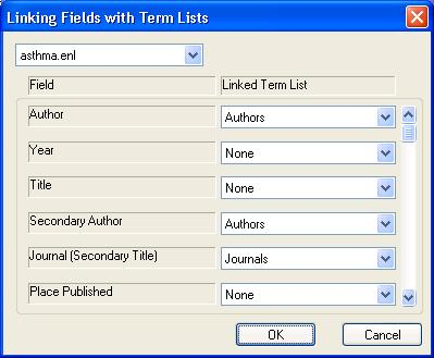 Linking term lists to fields Returning to the Lists menu, select Link Lists The linking fields with term lists window appears (left).