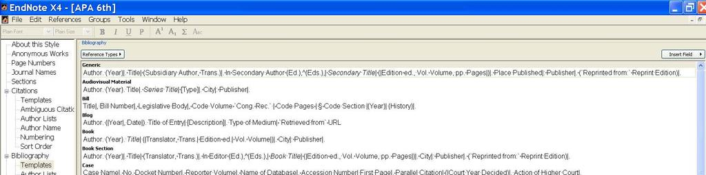 The template for a journal article in APA format is shown above. Note the field names (Author, Title, Journal, etc.