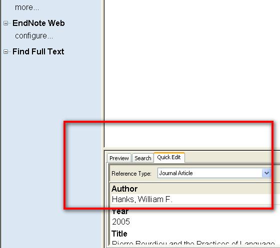 Exclude author Omits the author(s) name from the formatted citation Exclude year Prefix Suffix Pages Omits the date from the formatted citation Enter words that should be included before the