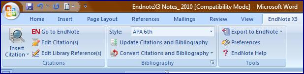 These tools allow you to make intext citations from your EndNote X3 reference library whileyouareworkingonadocument.