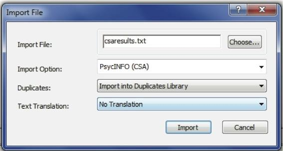 Figure 13: Import Dialogue Box Click on the Import button and the references will be imported. As before, you will see only the references which you have just imported in the library window.