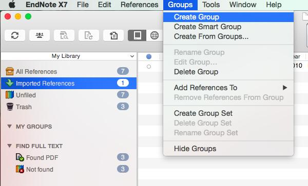 1.7 Groups The items in your EndNote library can be organised into groups (like a folder).