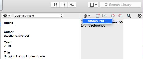 2.2 Attach pdf manually After adding a reference record to your EndNote library you can then attach the pdf to the