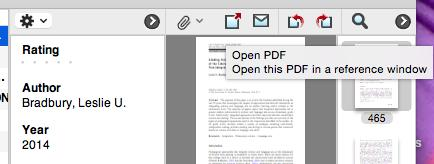 Then select the reference entry and click on the paperclip symbol. Navigate to where you stored the pdf to select it.