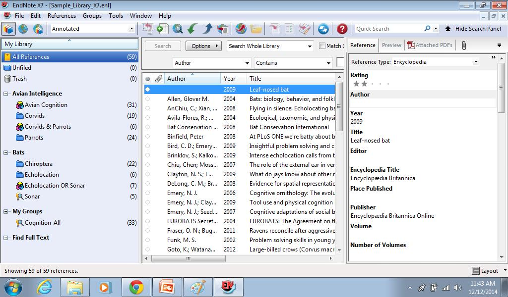Viewing an Endnote library EndNote X7 Windows icon toolbar Groups pane lists various groups of references for easy retrieval.