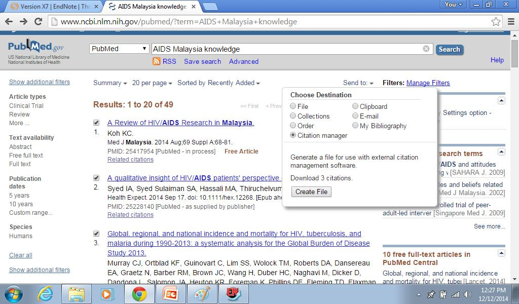 Use Citation manager to send selected (ticked boxes) Pubmed file(s) to your Endote