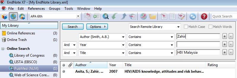 v. Online search directly from EndNote (make sure online for remote searching) Type the