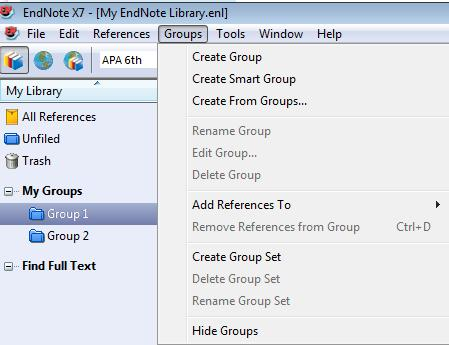 Organize references into Groups Adding a Group to your Group Set You can create several groups under a group set. Adding References to a group Drag and drop the references to a group.