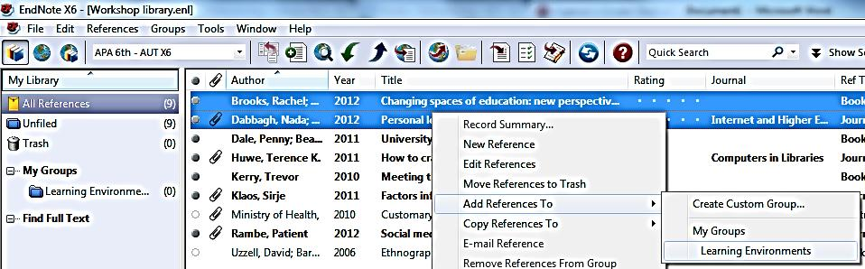 1) Smart Groups Online Search groups See Section 10.2 for more information on creating and using groups. 10.2 Use groups The Groups feature of EndNote enables you to organise your references.