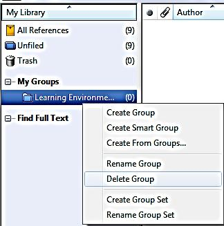 To delete a group: In the Groups panel, right-click the group name and choose Delete Group, or highlight the group name and click Groups>> Delete Group.