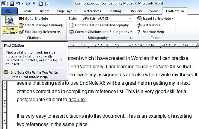 11. Use EndNote with Word You can use EndNote to insert citations into a word-processed document and then automatically format those citations into your chosen reference style and produce a reference