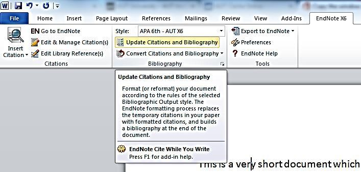 When you install EndNote on your computer, the relevant Add-In will be added to Word. It will display as an EndNote X6 tab. Click this tab and you should see the EndNote X6 functions.