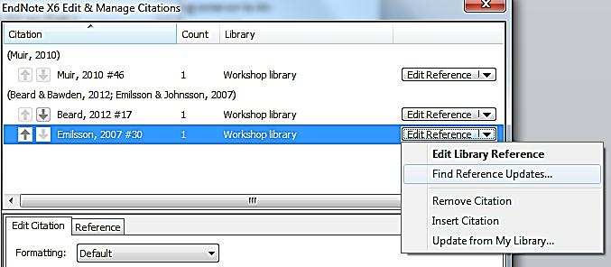 Note that this dialog box also gives you the options for excluding an author or year from a citation.