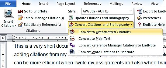 To unformat all the citations in your document: On the toolbar, click Convert Citations and Bibliography and then Convert to Unformatted Citations from the next menu.