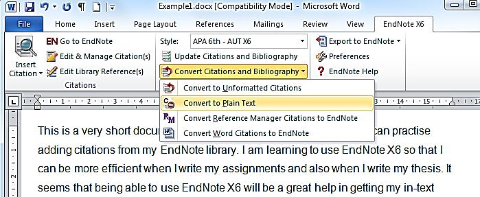 document that has the field codes, and thus has links to your EndNote data but in addition you will have a document that has no links to EndNote at all. This will be a plain text document.