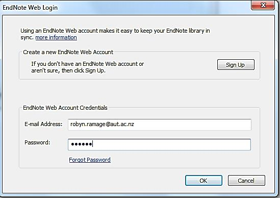 Enter your ENWeb account details and click OK. Wait a few minutes for the process to complete.