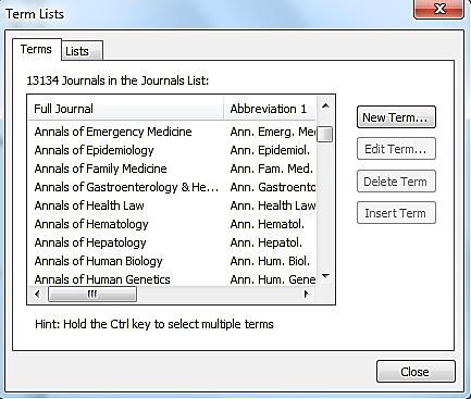 Appendix C: The journals term list Some databases, notably MEDLINE via PubMed, use abbreviated journal titles whereas the APA 6 th reference style requires full journal titles.