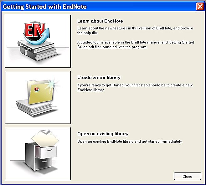 4. Create an EndNote library Start the EndNote program.