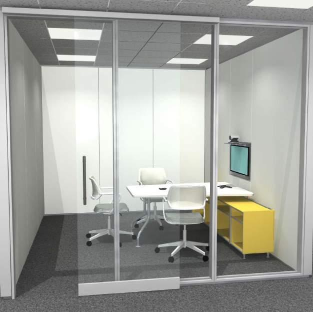 HUDDLE ROOM 3 PERSON Specs Footprint: 12 x 12 144 SF Seats: 3 Budget Range: Technology: * Please note: All pricing is conceptual and $2,700 - $3,200 is based upon the wide range of product Furniture: