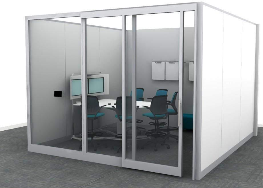 HUDDLE ROOM 6 PERSON Specs Footprint: 12 x 15 180 SF Seats: 6-8 Budget Range: Technology: Lighting Acoustics Furniture: $15,000 - $25,000 Demountable Wall $15,000 - $20,000 * $7,000 - $9,000 $3,000 -