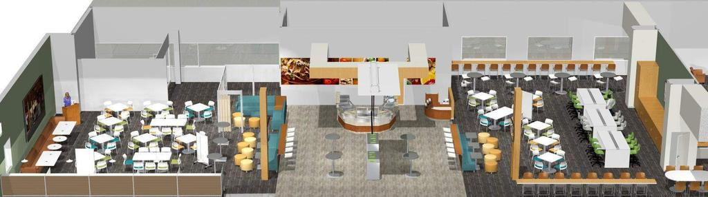 CAFÉ COMMONS Concept Footprint: 60 x 109 6,540 SF Seats: 300+ Budget Range: Technology: $170,000 - $220,000 Furniture: $125,000 - $175,000 * Please note: All pricing is conceptual and is based upon