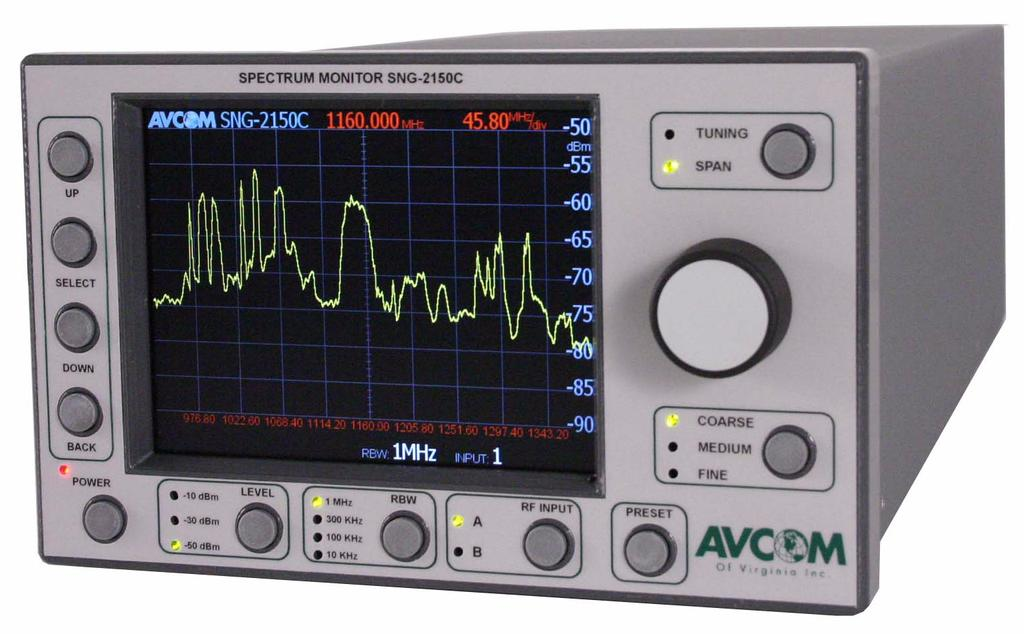 1 OVERVIEW T he SNG-2150C is Avcom s answer to the discontinued Tektronix 1705A with a feature set that gives the Satellite Technician a very useful tool for finding and peaking on satellites.