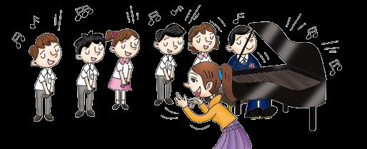 Miss Lee is (1) them. Peter is (2) Ruby and Max. Max is (3). Eva is (4) Ken. Mr Wong is (5). He is (6) the piano. He is playing the music for them.
