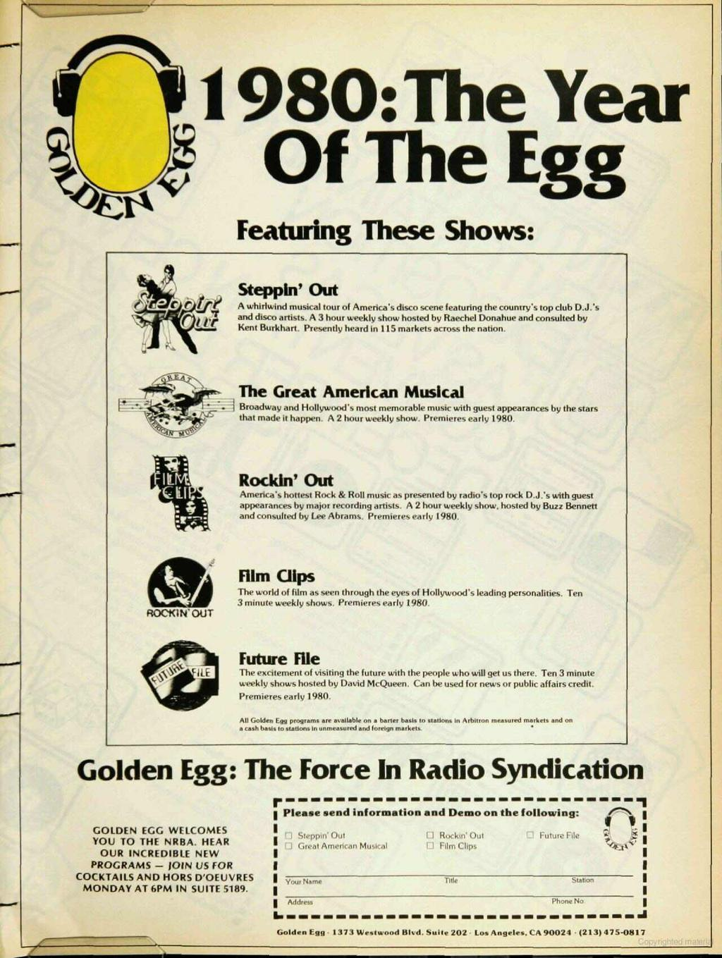 980: The Year Of The Egg Featuring These Shows: Steppan' Out # A whirlwind musical tour of America's disco scene featuring the country's top club D.J.'s and disco artists.