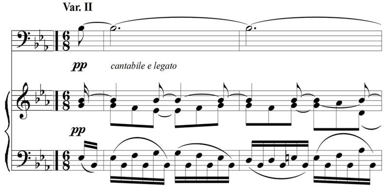 Variation II In the second variation, the theme occurs in the piano, and the trombone acts as an accompaniment.