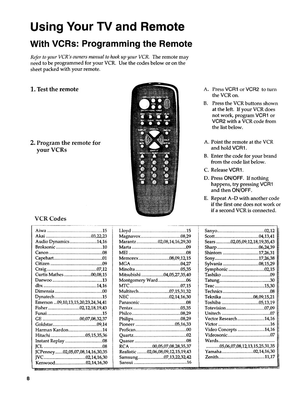 Using Your TV and Remote With VCRs: Programming the Remote Refer to your VCR's owners manual to hook up your VCR. The remote may need to be programmed for your VCR.
