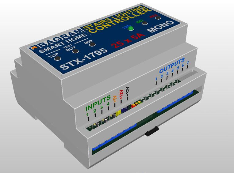 Stairs lighting controller STX-1795 The STX-1795 controller serves for a dynamic control of the lighting of stairs.