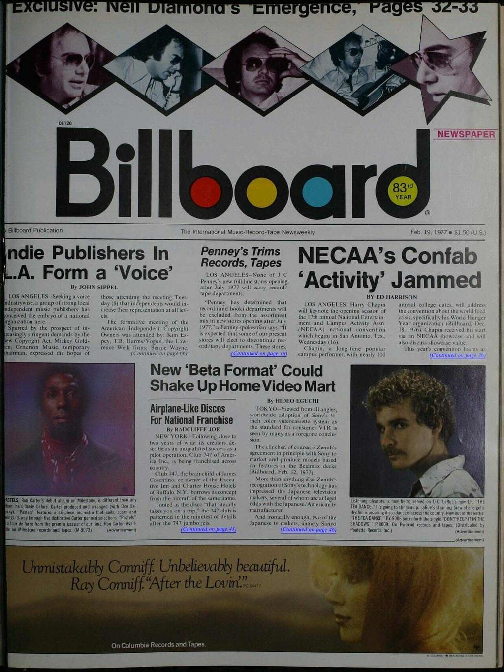Bioar Billboard Publication The nternational Music- Record -Tape Newsweekly Feb. 19, 1977 NEWSPAPER $1.50 (U.S.) ndie Publishers n A. Form a `Voice' B JOHN SPPE.