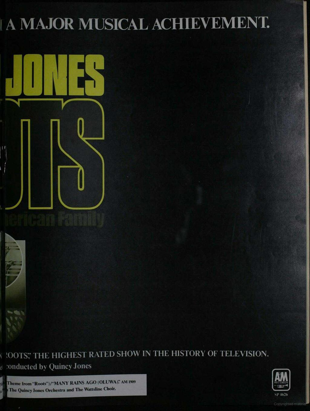 A MAJOR MUSCAL ACHEVEMENT. JONES =N J :DOTS;' THE HGHEST RATED SHOW N THE HSTORY OF TELEVSON.