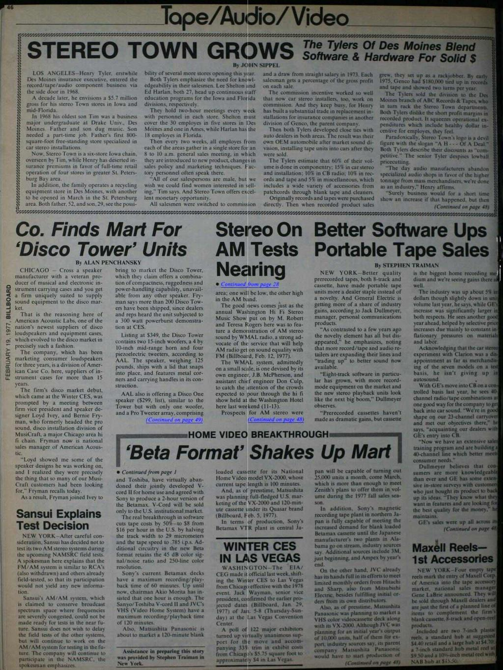 Tope /Audio /Video STEREO TOWN GROWS The Tylers Co LOS ANGELES -Henry Tyler. erstwhile Des Moines insurance executive- entered the record /tape /audio component business via Me side door in 1968.