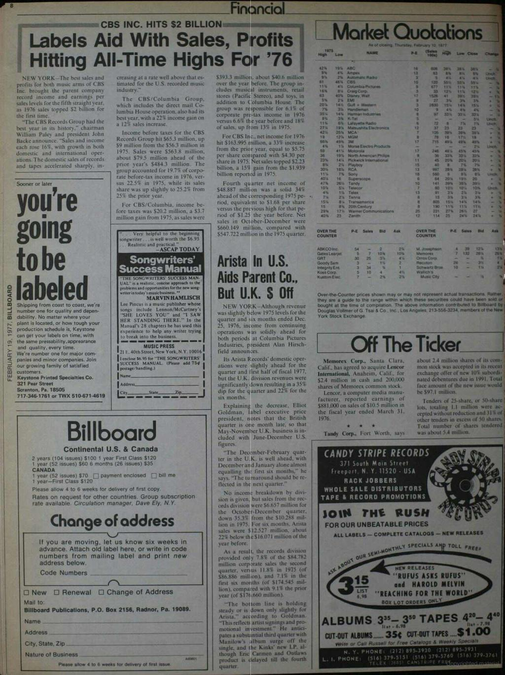 8 Financial CBS NC. HTS $2 BLLON Labels Aid With Sales, Profits Hitting All -Time Highs For '76 NEW YORK -The hesi salo and profits for both music arms of CBS nc.