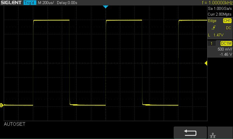 Use the probe to connect the input terminal of CH1 of the oscilloscope and the Compensation Signal Output Terminal of the probe. 4. Press the Auto Setup. 5. Observe the waveform on the display.
